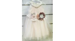 Yaka Taşlı Çiçekli Elbise
